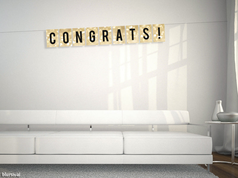 Congratulations, printable banner in gold sparkle
