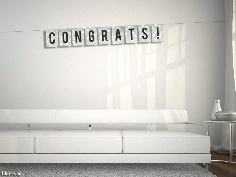 Congratulations, printable banner in silver sparkle