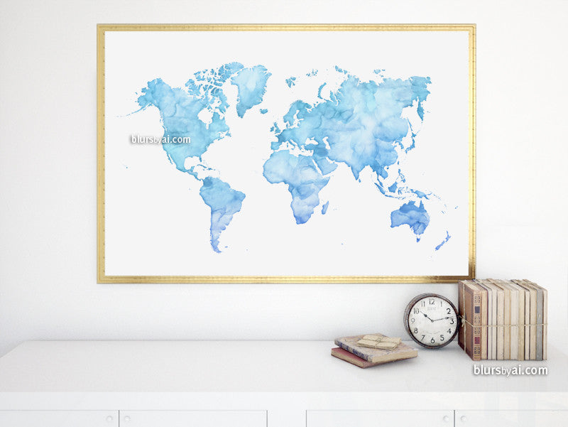 "Light blue printable world map in watercolor style, large 36x24"" - For personal use only"