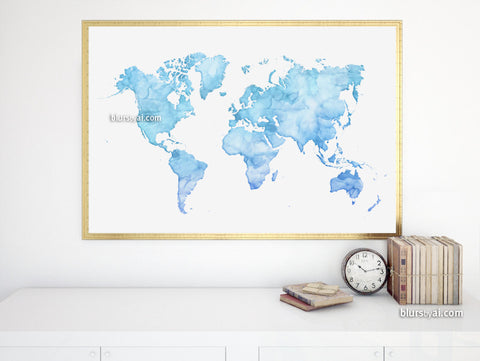 Light blue printable world map in watercolor style, large 36x24""