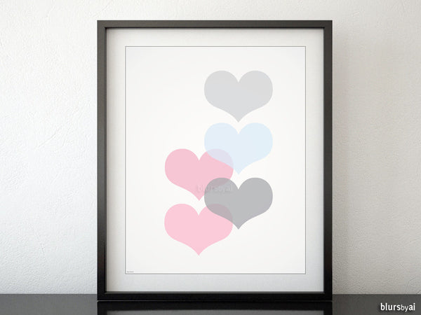 Mid century modern printable art featuring pink and blue pastel hearts