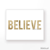Christmas gold glitter words prints, set of 6