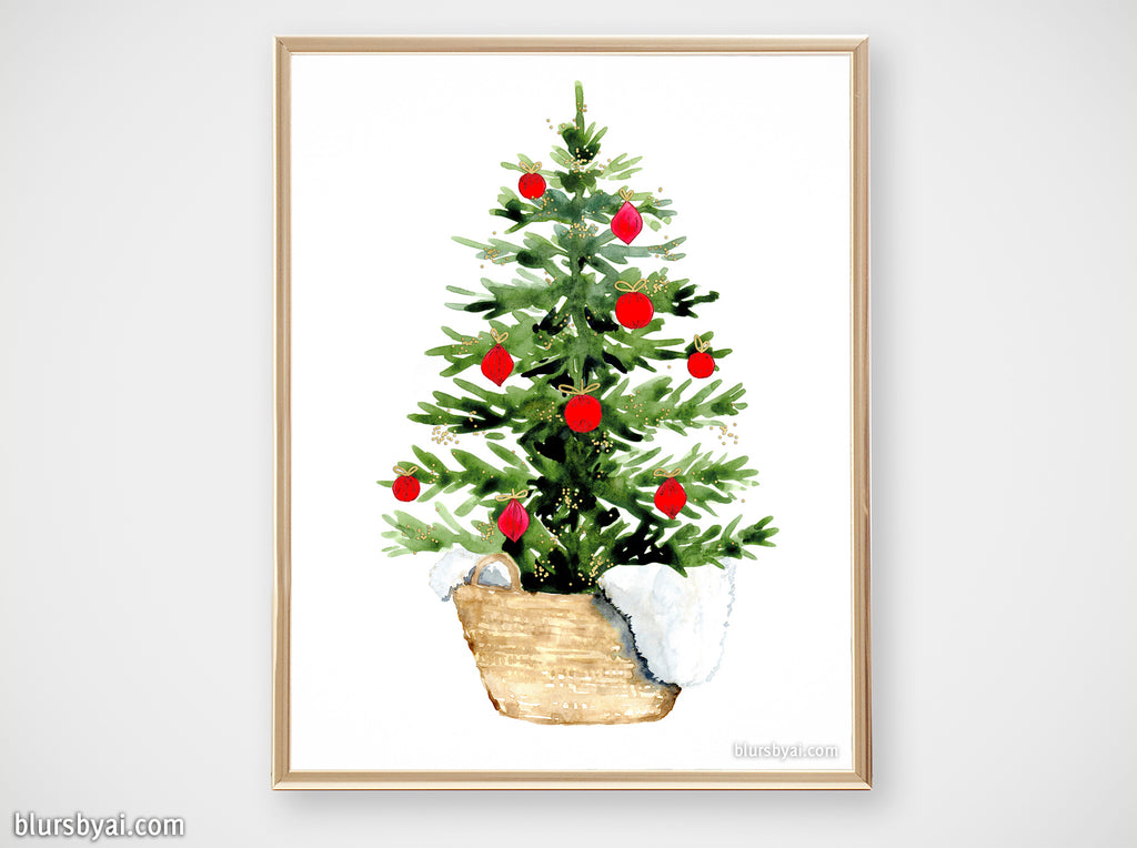 Printable holiday decor: Watercolor Christmas tree in a basket - Personal use