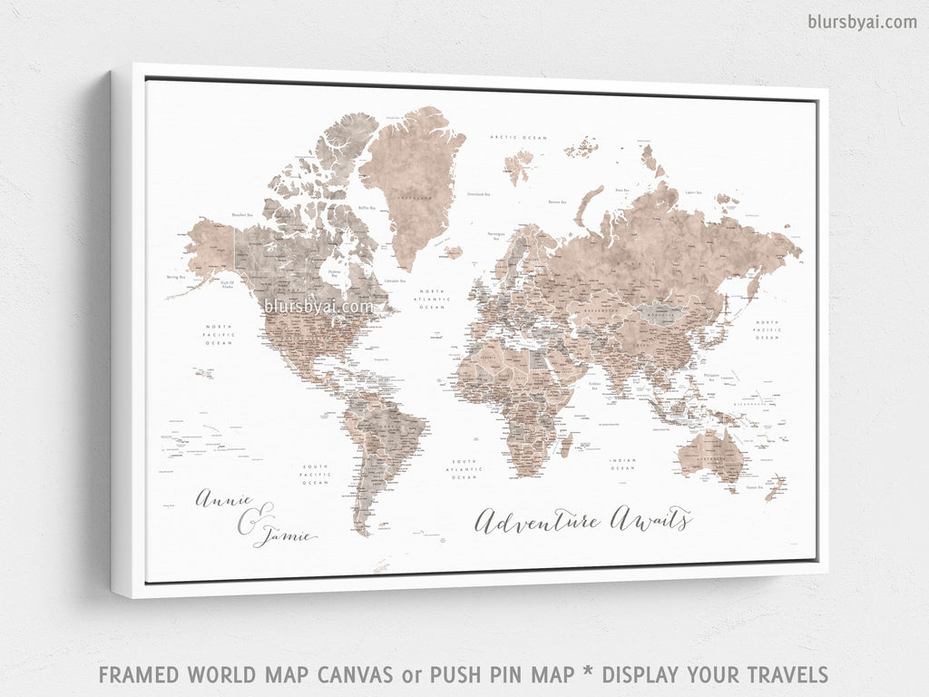 "Custom world map with US state capitals, cities, states and countries, canvas print or push pin map in neutrals. ""Abey"""