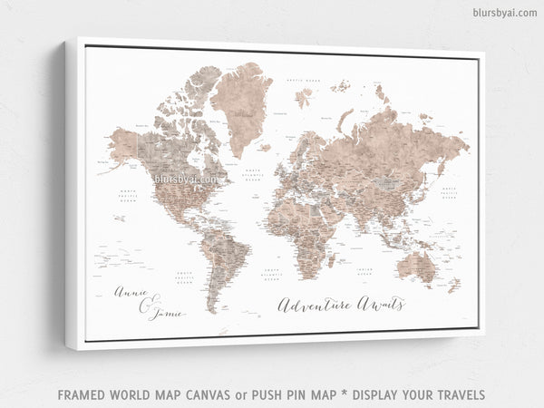 Custom world map with US state capitals, cities, states and countries,  canvas print or push pin map in neutrals. \