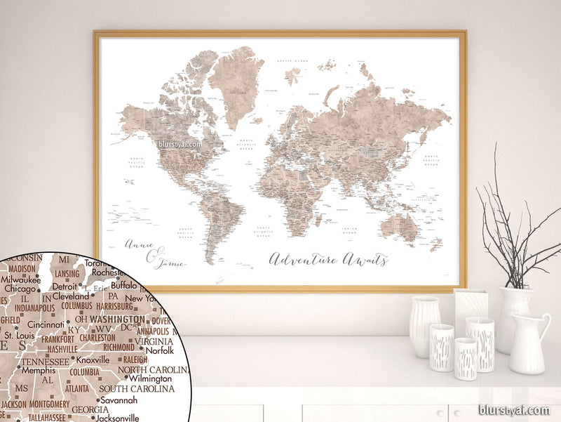 "Custom quote - neutral watercolor PRINTABLE world map with US state capitals, states, cities, countries....""Abey"""