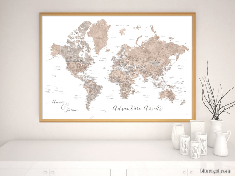 "Art print on paper: custom world map with state capitals, cities and countries in neutral watercolor. ""Abey"""