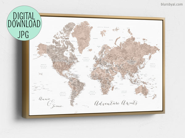 Custom quote - neutral watercolor PRINTABLE world map with US state  capitals, states, cities, countries....\