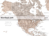 Printable world map in neutral watercolor with US state capitals, cities, countries...