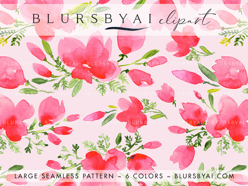 Pink watercolor poppies patterns, extra large and seamless, commercial license