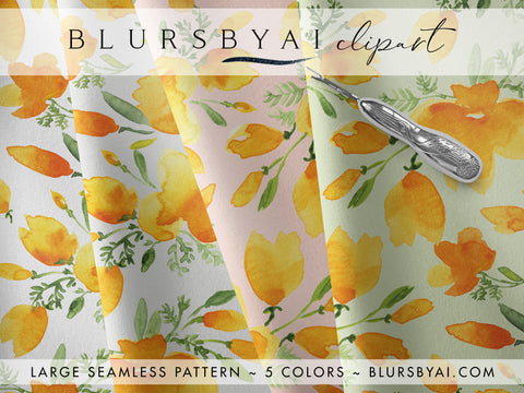 Watercolor california poppies patterns, extra large and seamless, commercial license