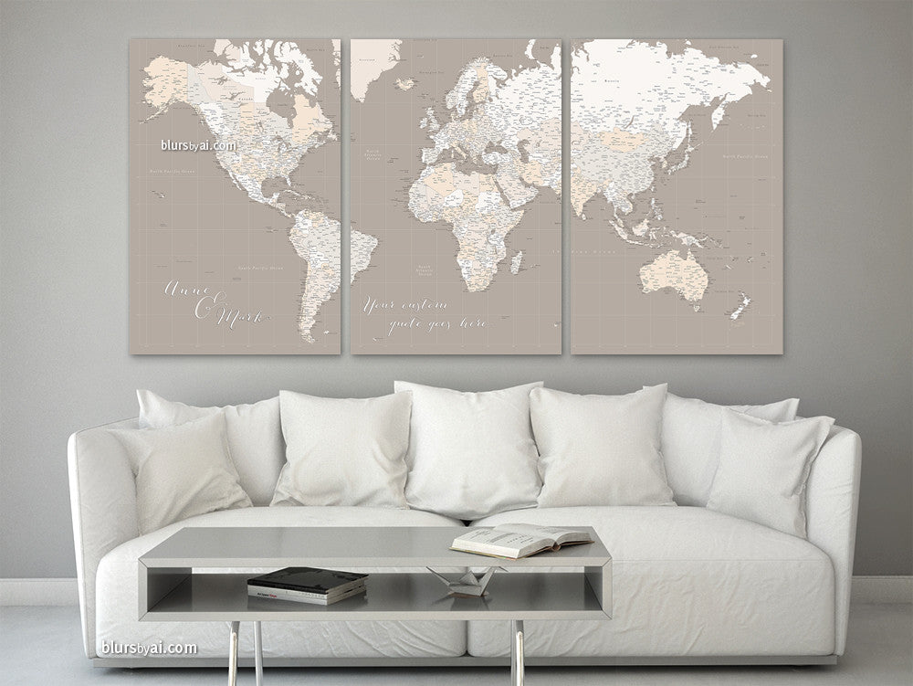 "Personalized large canvas print or push pin map, featuring a highly detailed world map with many cities, split in three 24x36"" canvas prints."