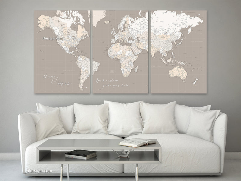 "Large multi panel world map canvas print or push pin map, highly detailed world map with cities. ""Light earth tones"""