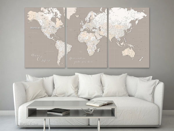 Large multi panel world map canvas print or push pin map, highly detailed  world map with cities. \