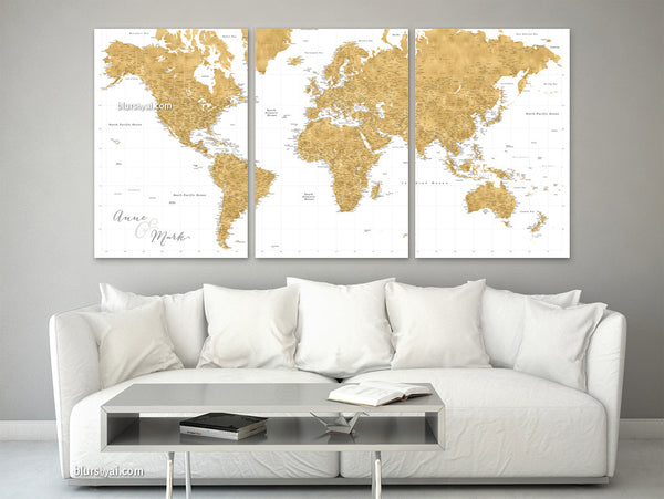 "Personalized large canvas print or push pin map, featuring a gold / ochre highly detailed world map with many cities, split in three 24x36"" canvas prints."