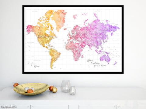 "Personalized world map print - highly detailed map with cities in bright colorful watercolor. ""Edna"""