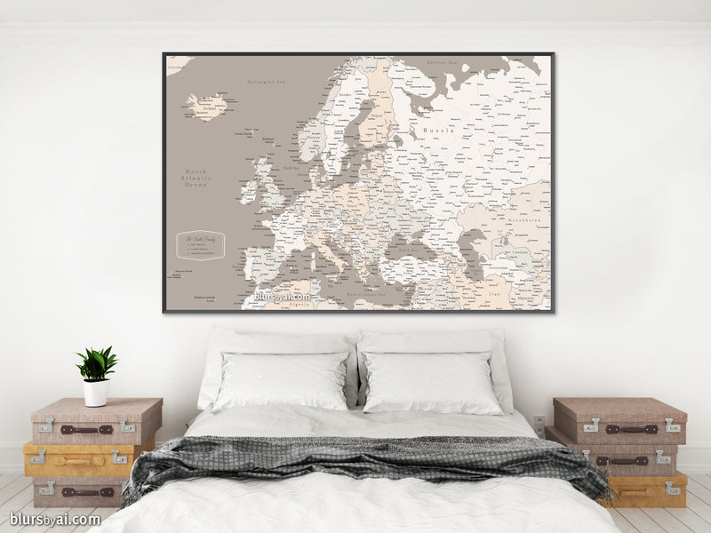 Custom map print: map of Europe with countries and cities in light earth tones