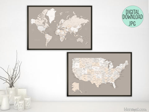 Printable matching world map and US map with cities in light earth tones, 36x24""