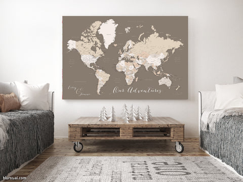"Personalized world map with cities, canvas print or push pin map in brown. ""Earth tones"""