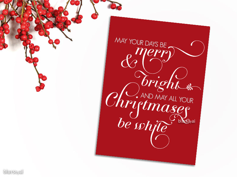Merry & Bright Christmas card in flourished typography, red and white