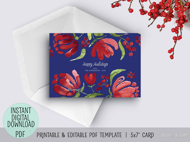 Editable pdf Christmas card template: watercolor retro floral blooms