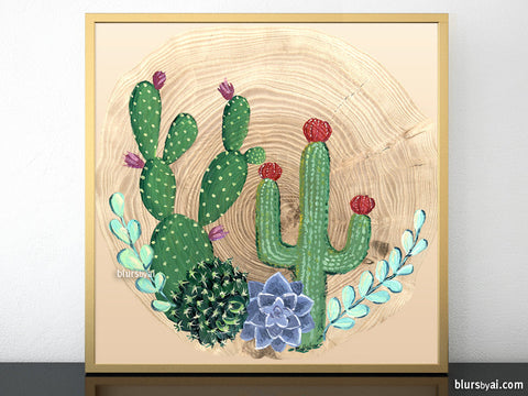 Square cacti, succulents and wood printable art