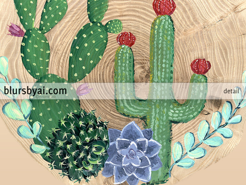 Square cacti, succulents and wood printable art - Personal use