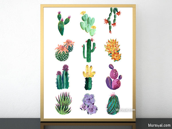 Cacti and succulent illustration printable art