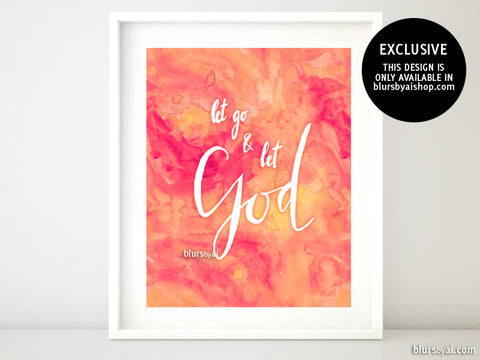 Let go and let God, in modern calligraphy and coral watercolor