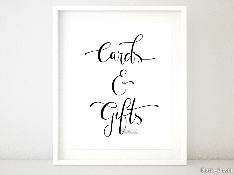 Cards and gifts, distressed modern calligraphy printable sign