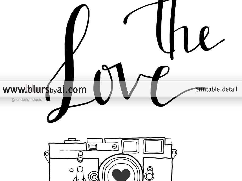 Custom printable wedding hashtag sign, Share the love and camera in hand lettered style