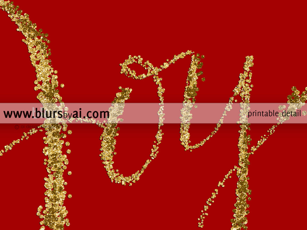 Joy, printable Christmas decor in red and gold confetti modern calligraphy