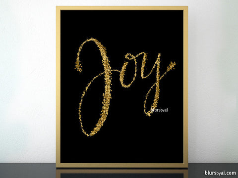 Joy, printable Christmas decor in black and gold confetti modern calligraphy