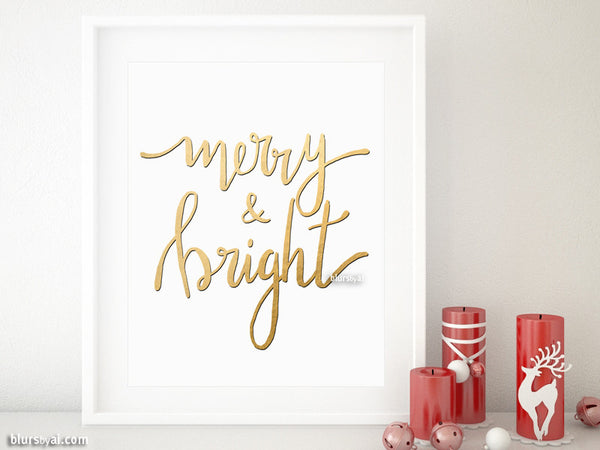 Merry & bright Christmas printable decor in gold modern calligraphy