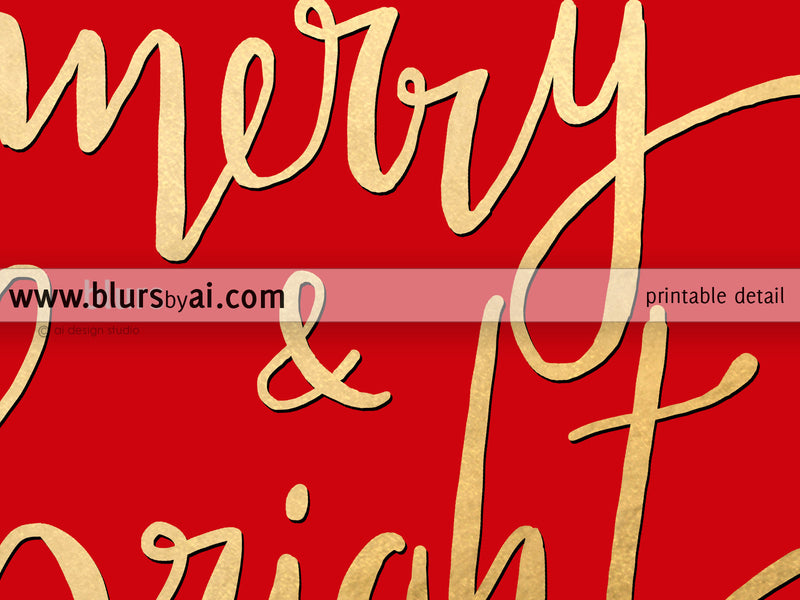 Merry & bright, printable Christmas decor in red and gold modern calligraphy