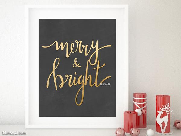 Merry & bright, printable Christmas decor in chalkboard and gold modern calligraphy