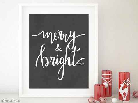 Merry & bright, printable Christmas decor in modern calligraphy, chalkboard style