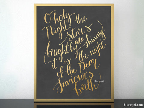 O holy night lyrics printable Christmas decor, in chalkboard and gold modern calligraphy