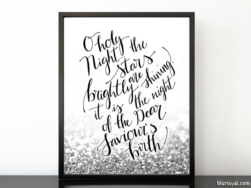 O holy night lyrics printable Christmas decor, in silver glitter and modern calligraphy
