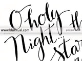O holy night lyrics printable Christmas decor, in gold glitter and modern calligraphy