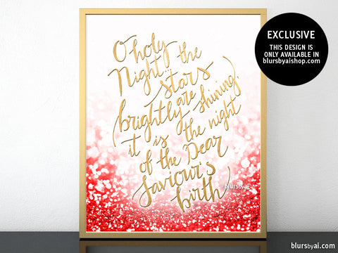 O holy night lyrics printable Christmas decor, in red glitter and gold modern calligraphy