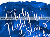 O holy night lyrics printable Christmas decor, in white modern calligraphy and blue watercolor