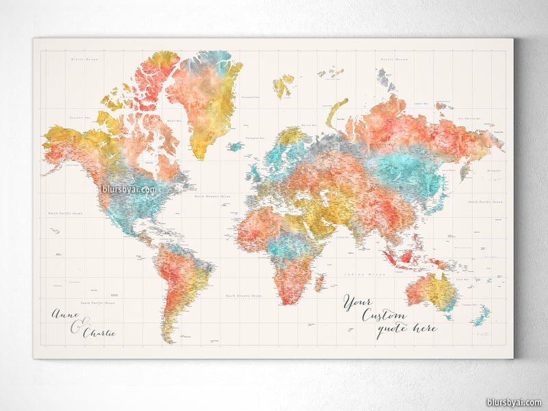 "Custom large & highly detailed world map canvas print or push pin map in modern watercolors. ""Fifi"""