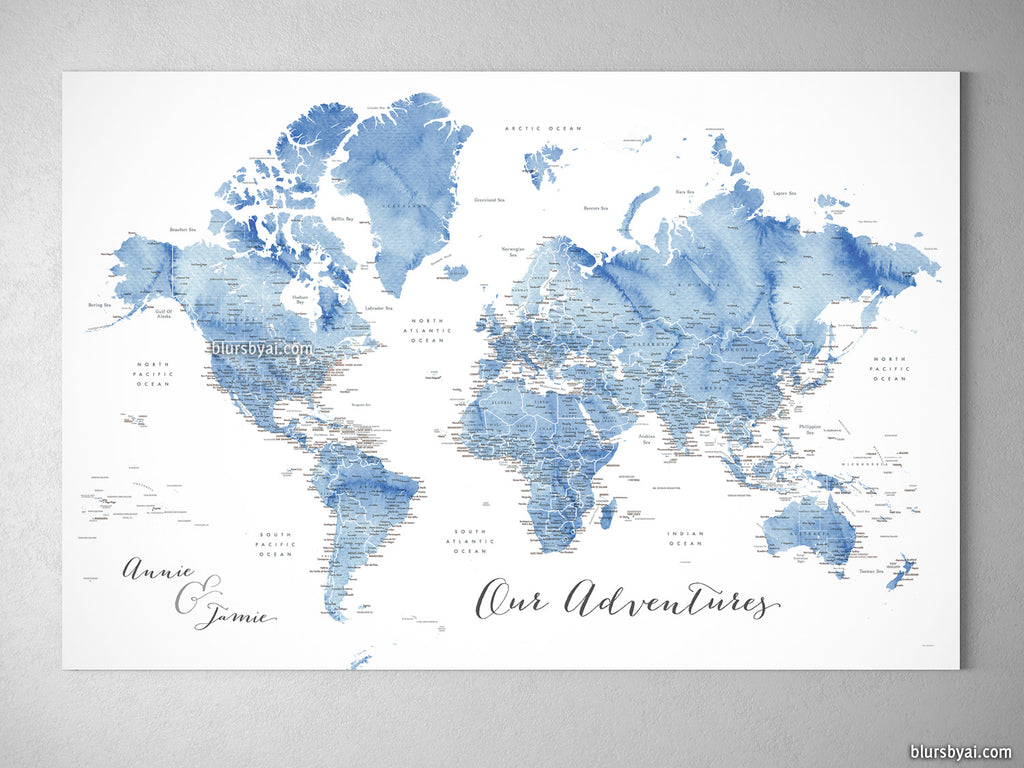 "Custom world map with US state capitals, cities, states and countries, canvas print or push pin map in soft blue watercolor. ""Vance"""
