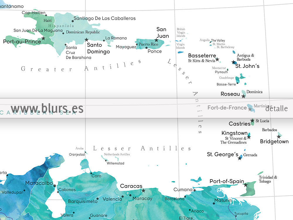 photo relating to Printable Map of Caribbean Islands named Printable map of the Caribbean Islands, with capitals and metropolitan areas in just aquamarine, 20x16\
