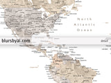 "Wedding guestbook map: custom watercolor world map with cities, canvas print, push pin map. ""Abey"""