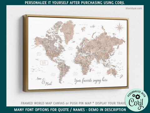 "Custom world map with US state capitals, cities, states and countries, canvas print or push pin map in neutrals . ""Abey"" - EDIT PROOF YOURSELF USING CORJL"