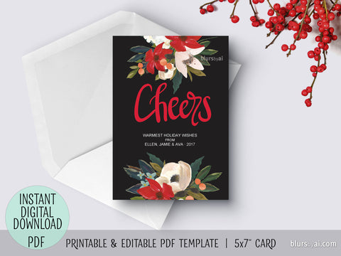 Editable pdf Christmas card template: hand lettered Cheers and hand painted poinsettia