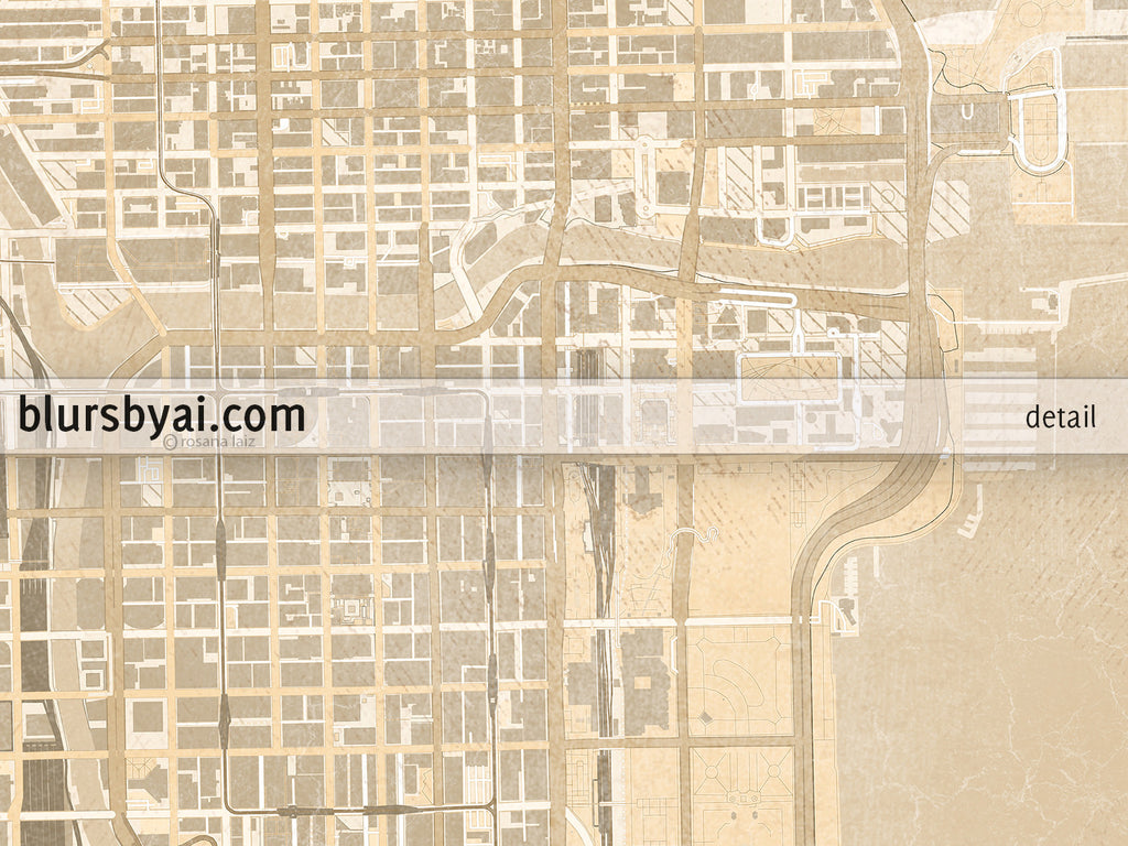 photo about Printable Map of Chicago identified as Printable map of Chicago, Illinois, en basic sepia structure