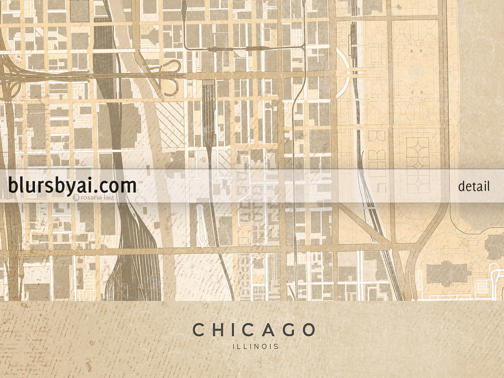photograph relating to Printable Maps of Chicago named Printable map of Chicago, Illinois, en basic sepia design and style